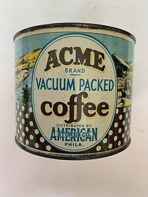 vintage,ACME BRAND,COFFEE TIN CAN,,GREAT CONDITION,,,NO LID,,,VERY NICE TIN...