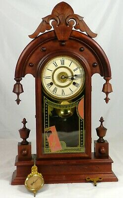 """Beautiful New Haven """"Elbe"""" Antique Mantel Clock. Circa 1883, Completely Serviced"""