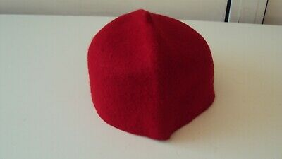"Nigerian Traditional ""Igbo Fila"" Men's Wool Cap Red - 23 inches"