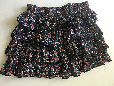 Girls Peek Floral Tiered Skirt Navy Flowers Size L (8) Adorable