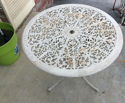 Original Vintage Wrought Iron Garden Round Table