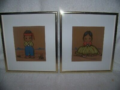Gerda Christoffersen(1912-2012)Artist, NM, Pastel on Paper Boy and Girl, signed