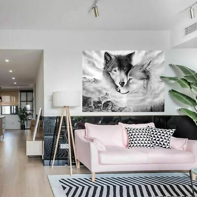 Black&Whit Wolf Picture Wall Art Painting Canvas Picture Home Hanging Decor UK