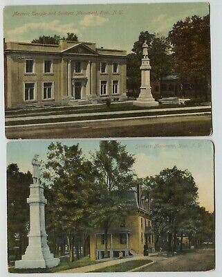 2 1910 -1911 Soldiers Monument Masonic Temple Ilion New York Postcards