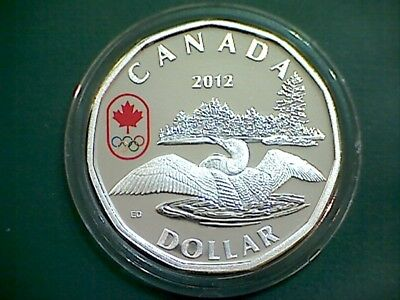 2012 Canada Lucky Loonie $1 in pure silver proof finish - with olympic logo