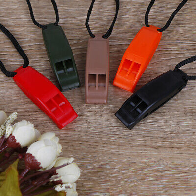 5pcs/set Dual Band Survival Whistle Lifesaving Emergency Whistle With Rop UQ
