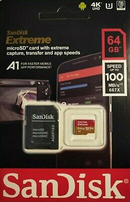 SanDisk 64 GB extreme micro SD card + adapter for ,go pro ,drone phone, camera