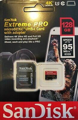 SanDisk 128 GB extreme micro SD card + adapter for ,go pro ,drone phone, camera