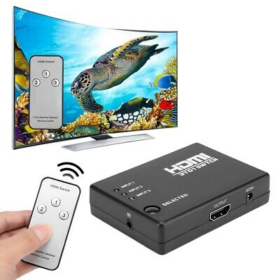 HDMI Interruptor 3D Switcher Splitter 1080P HD iR control Remote 4 Puertos Nuevo