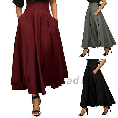 New Women High Waist Flared Pleated Long Dress Gypsy Maxi Skirt with Pocket