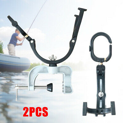 2 Pack Fishing Rod Pole Rest Universal Boat Dock Clamp On Grip Holder HOT SALE