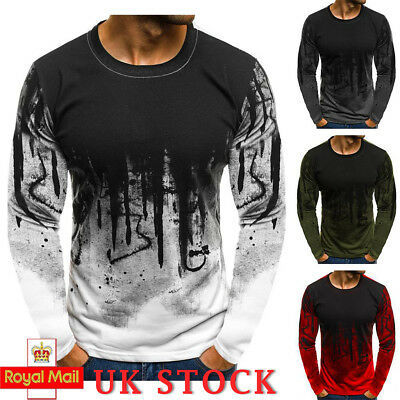 UK Mens Longline T Shirt Muscle Fit Tee Casual Pullover Sweater long Sleeve Tops