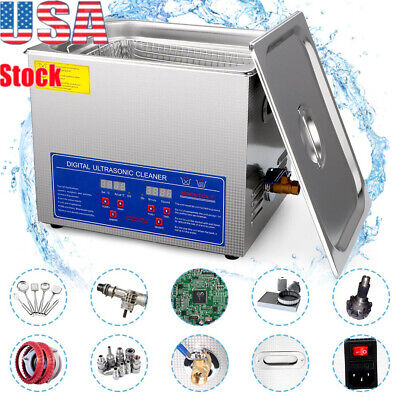 Stainless Steel 10 L Liter Industry Heated Ultrasonic Cleaner Heater w/Timer US