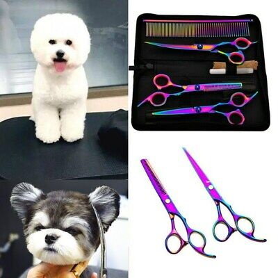 7'' Pet Hair Scissors Set Dog Grooming Cutting Thinning Curved Shears Comb Sets
