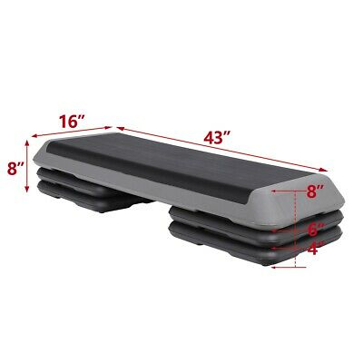 42.5''Fitness Exercise Training Aerobic Step Board Home Workout Stepper W/ Riser