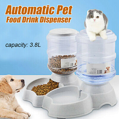 3.8L Large Automatic Pet Food Drink Dispenser Dog Cat Feeder Water Bowl Dish