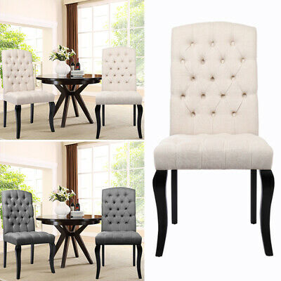 2/4x Dining Chairs High Back Upholstered Fabric Accent Chair Wooden Leg Linen UK