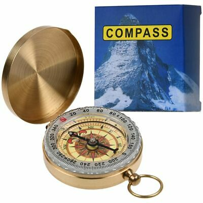 Vintage Brass Noctilucent Pocket Compass Hiking Camping Watch Navigation Outdoor