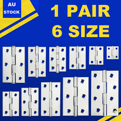Pairs Home Hinges Small-Large Door Gate Cabinet Cupboard Stainless Steel Shop AU