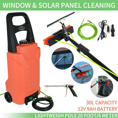 20ft Water Fed Telescopic Window Cleaning Pole+30L Water Tank   Cleaning Trolley