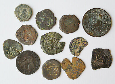 Lot Of 12 Spain Colonial Pirates Coins Cob Colonial Different Kings Medieval