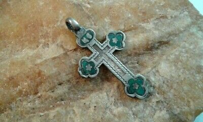 """ANTIQUE 19th CENTURY RUSSIAN SILVER """"84"""" ORTHODOX FLORAL CROSS with BLUE ENAMEL"""