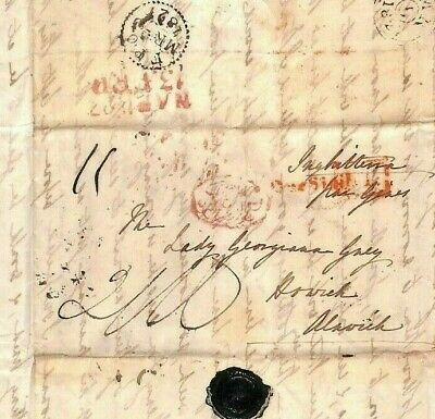 ITALY GB LETTER Naples 1827 Cover Alnwick HOWICK HALL Lady Grey {samwells}MS2348
