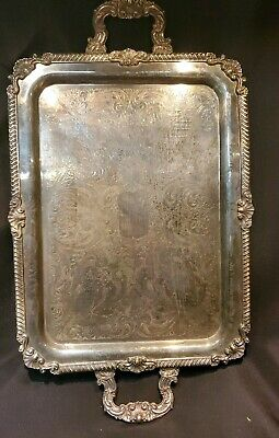 """BEAUTIFUL!! 21""""  Vtg Silver Plated Handled & Footed Platter Tray"""