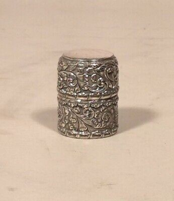 Antique American Silver Plate Sewing Spool Thread Holder Wilcox Fancy Reposse