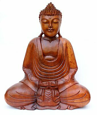 CLEARANCE Very Large 50cm Hand Carved Wooden Buddha Statue CRACKED