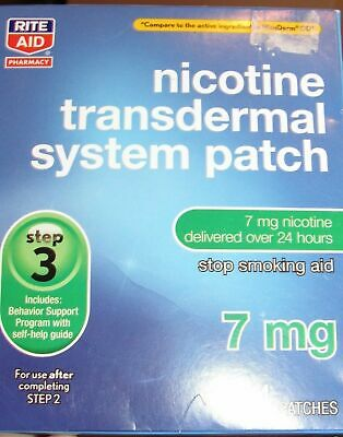 Rite Aid Nicotine Step 3 Transdermal Smoking Patches 7 mg. 14 Patches 2 WK 03/20