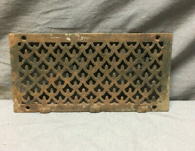 Antique Cast Iron Fireplace Grill Grate 4x9 Wall Ceiling Vent Old Vtg 434-19L