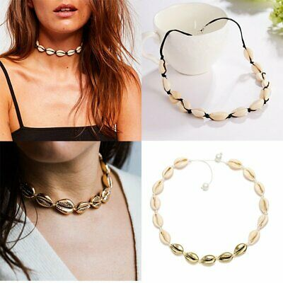 Boho Women Cowrie Shell Choker Natural Shell Necklace Adjustable Beach Jewellery
