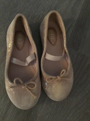 Bloch Girls Glitter Pink Nude Ballet Gym Shoes Size 25