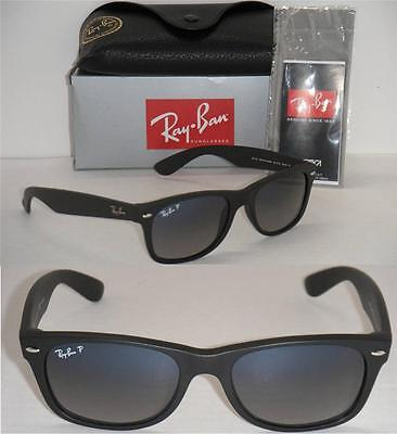 Ray Ban New Wayfarer Rb 2132 601S/78 55Mm Matte Black/ Blue Grey Faded Polarized