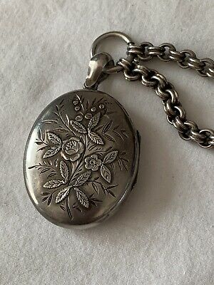 Large Antique Victorian Sterling Silver Flower Design Locket And Chain