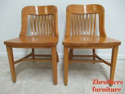 2 Jasper Community Boston School Wood Side Chair slat Back Oak 1920s style D