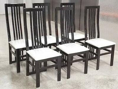 SET of 6 VINTAGE ITALIAN PIETRO COSTANTINI BLACK LACQUER HIGH BACK DINING CHAIR