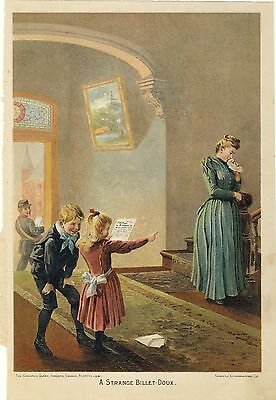 1891 Antique Chromolithograph Vintage Victorian Art Exquisite Print Deep Color