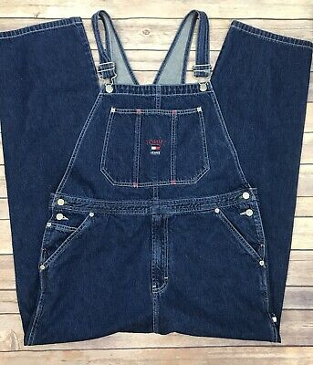 Vintage Tommy Hilfiger Denim Bib Overalls Size XL Embroidered Spellout