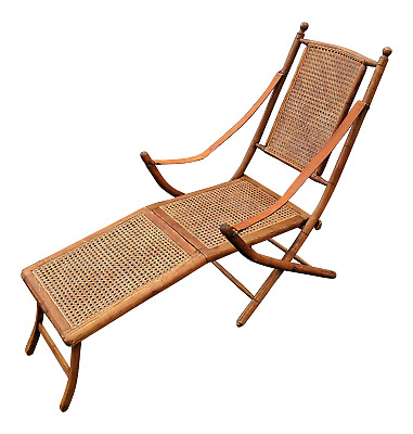 Antique English Oak Folding Caned Deck Chair Leather Strap Arm Support