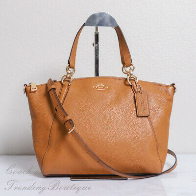 NWT Coach F28993 Pebble Leather Small Kelsey Satchel Crossbody in Light Saddle