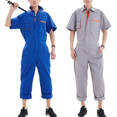 Unisex Short-Sleeved Overalls Workwear Lapel Zipper Jumpsuit Coverall Uniforms