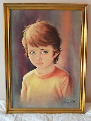 ORIGINAL RARE CARLO PARISI CRYING BOY ART PRINT 1960s VINTAGE KITSCH  Bragolin