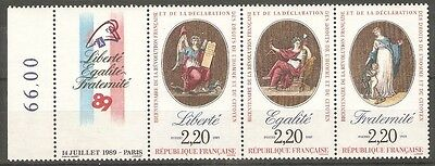 France - 1989 Bicentenary of French Revolution Sg2871/3 MNH ( Cat. £4.75p )