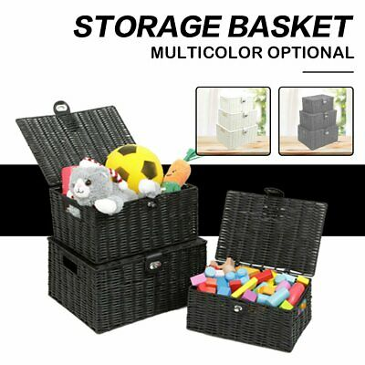 SET OF 3 Resin Wicker Woven Storage Baskets Hamper Box Lid Clasp Gift Save Space
