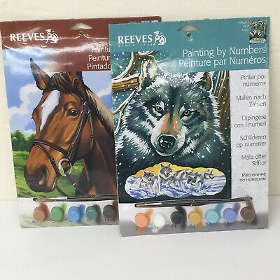 Reeves Painting by Numbers  Kit - 22.5cm  x 30.0cm  -Wolf & Horse Bundle #76