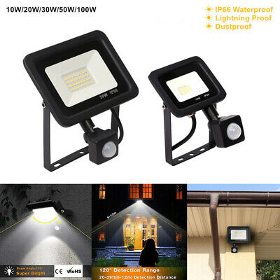 Slim 100W LED Security Flood Light Outdoor Garden PIR Motion Sensor Floodlight