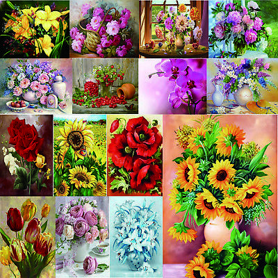 5D DIY Full Drill Square Diamond Painting Flowers Embroidery Mosaic Kits Gift