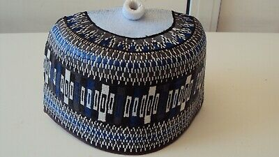 """African Nigerian Traditional Hausa Hand Woven Cap Beige,Grey & Blue Multi 23"""""""